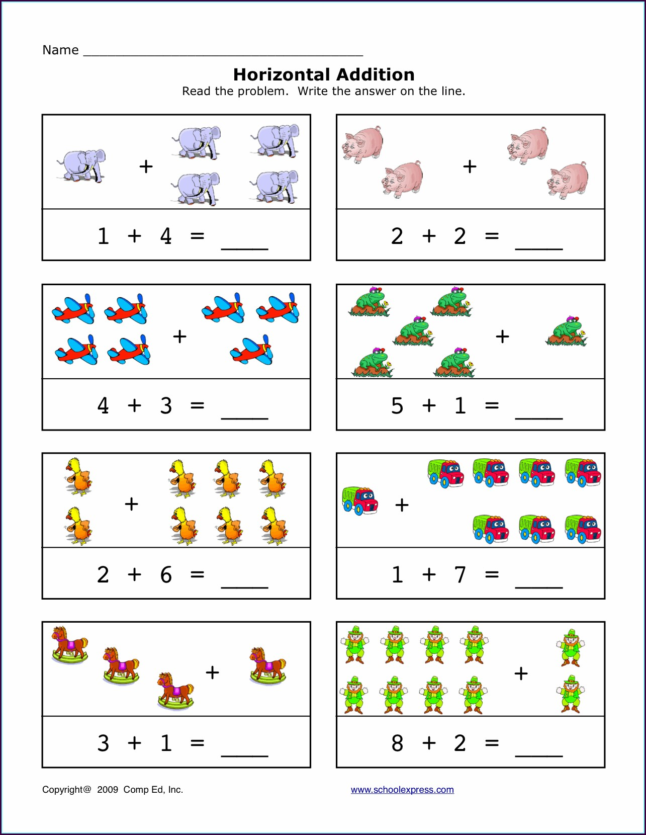 Kindergarten Worksheets Addition With Pictures