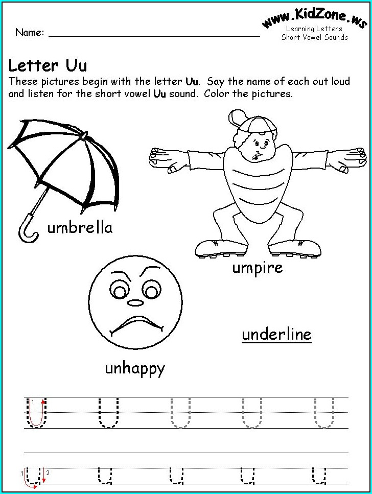 Kindergarten Worksheets Letter U