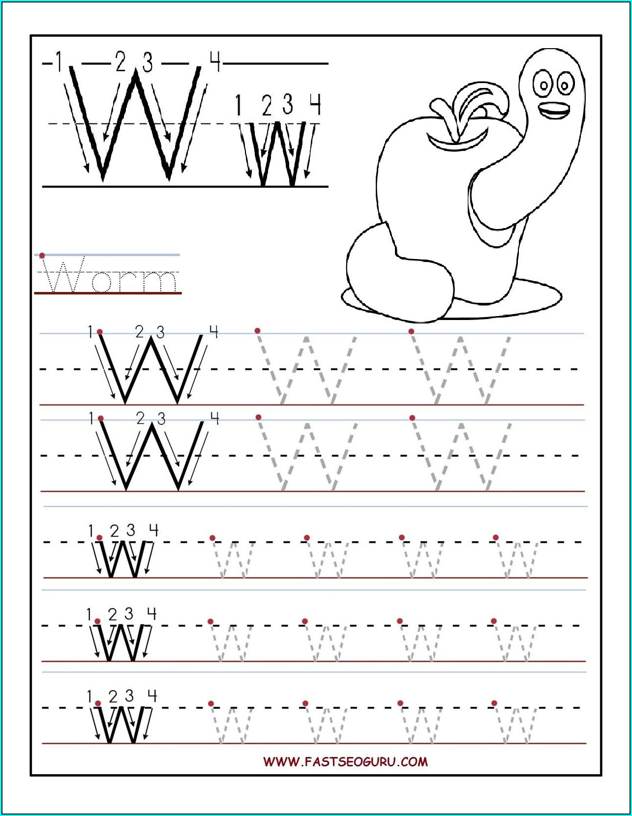 Kindergarten Worksheets Letter W