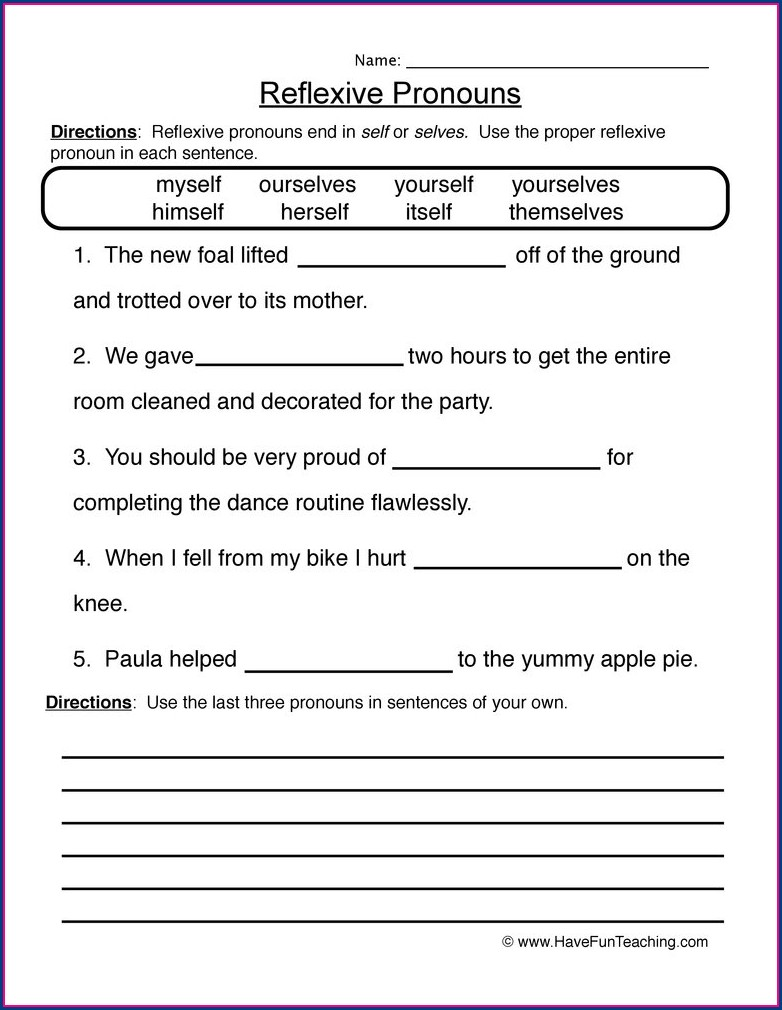 Kinds Of Pronouns Worksheets For Grade 5