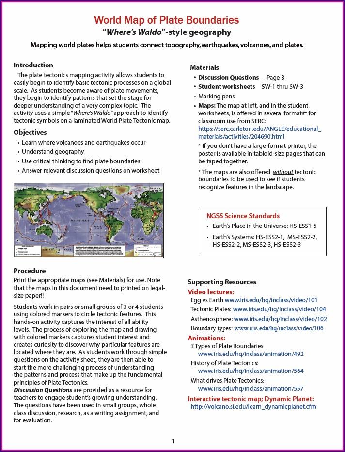 Landforms At Plate Boundaries Worksheet Answers