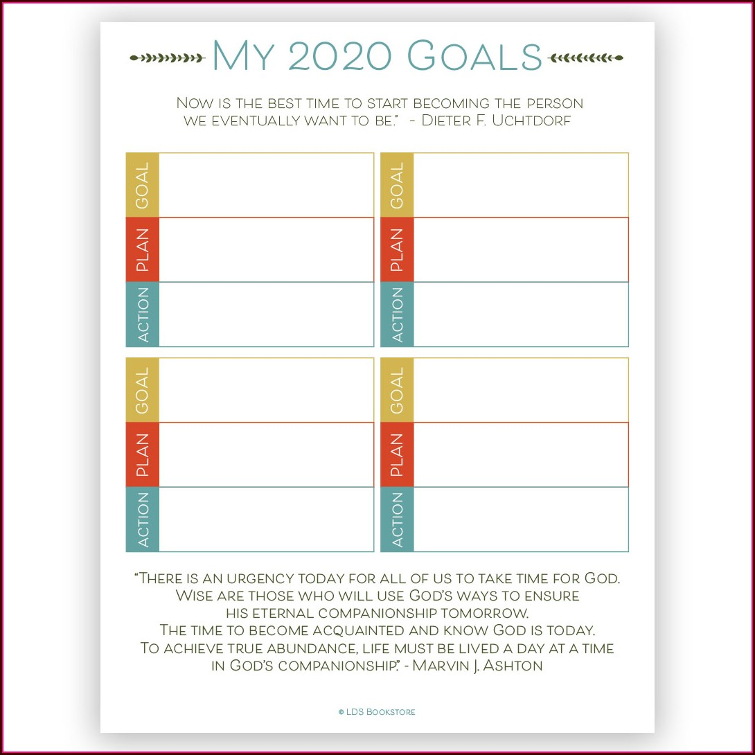 Lds Goal Setting Worksheet
