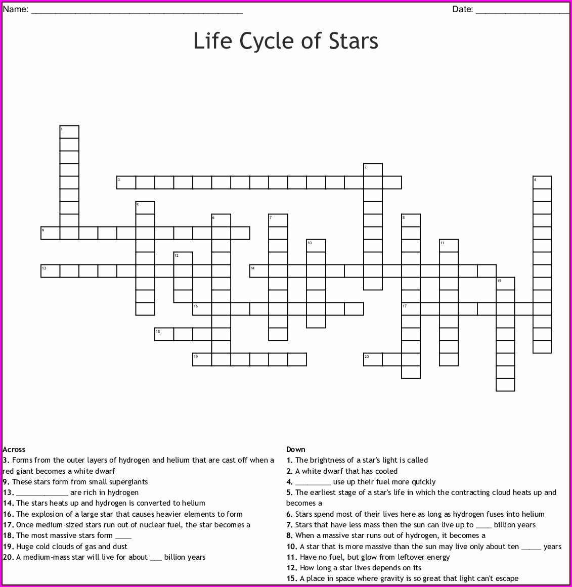Life Cycle Of A Star Worksheet Crossword Answers