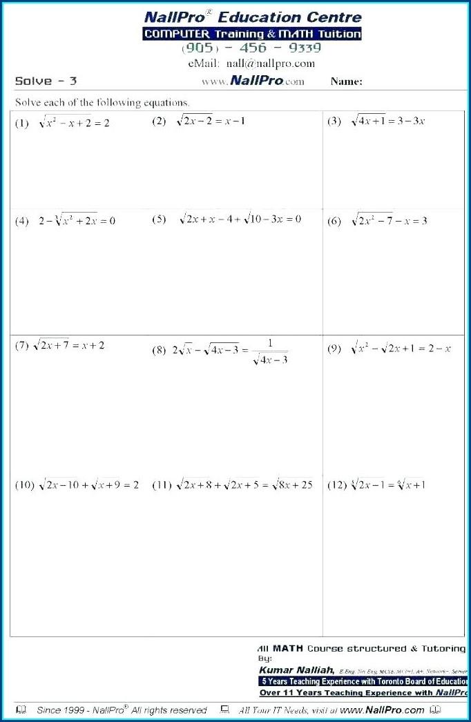 Linear Equations Worksheets Grade 8 Pdf