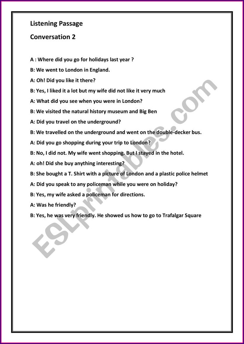 Listening Comprehension Passages With Questions For Grade 2