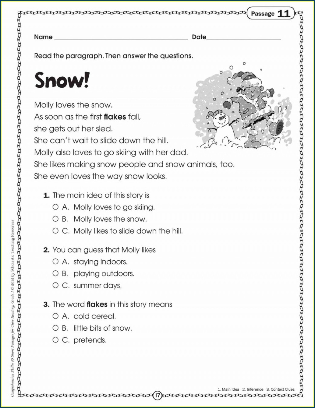 Main Idea Multiple Choice Worksheets 2nd Grade