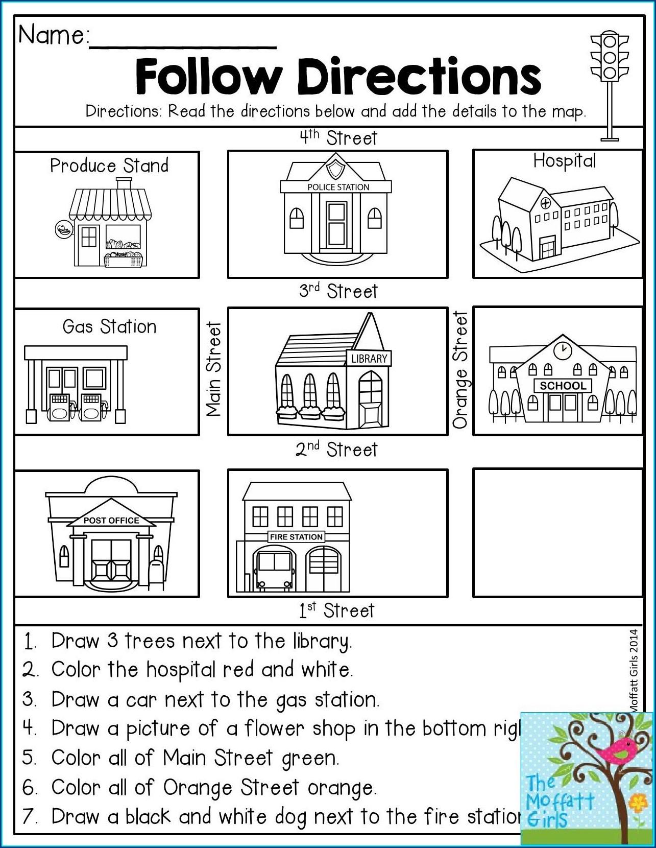 Map Direction Worksheet For Grade 1