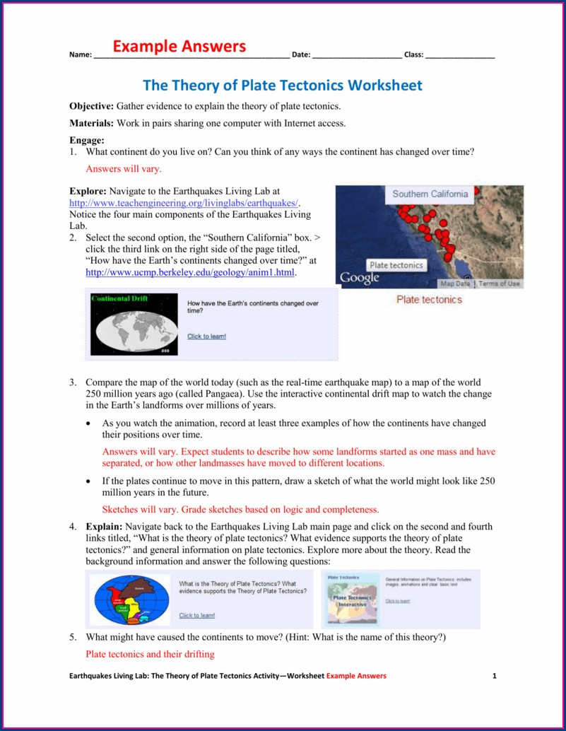 Map Evidence For Plate Tectonics Worksheet