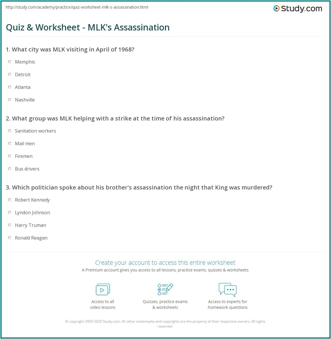 Martin Luther King Jr Assassination Worksheet Answers