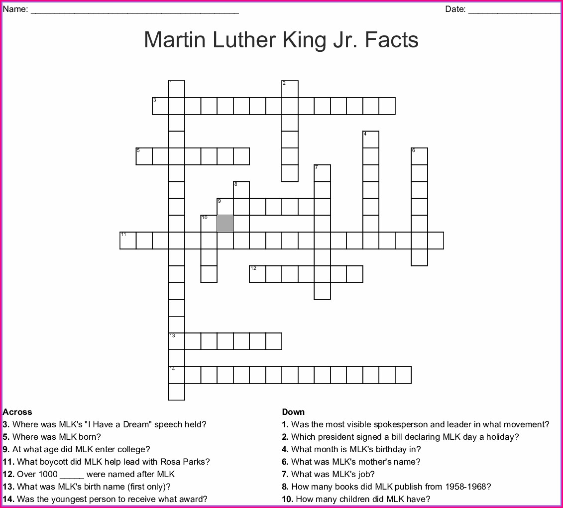 Martin Luther King Jr Crossword Puzzle Worksheet Pdf
