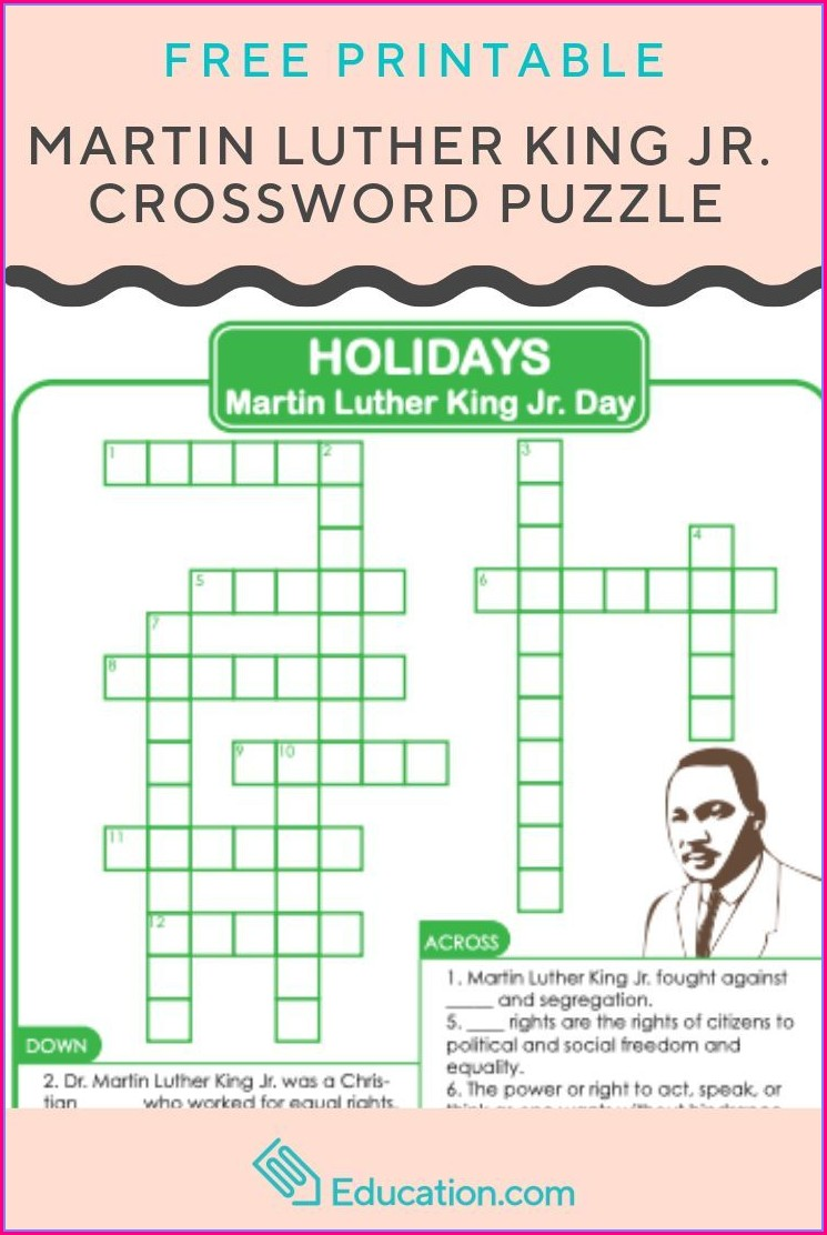Martin Luther King Jr Crossword Puzzle Worksheet