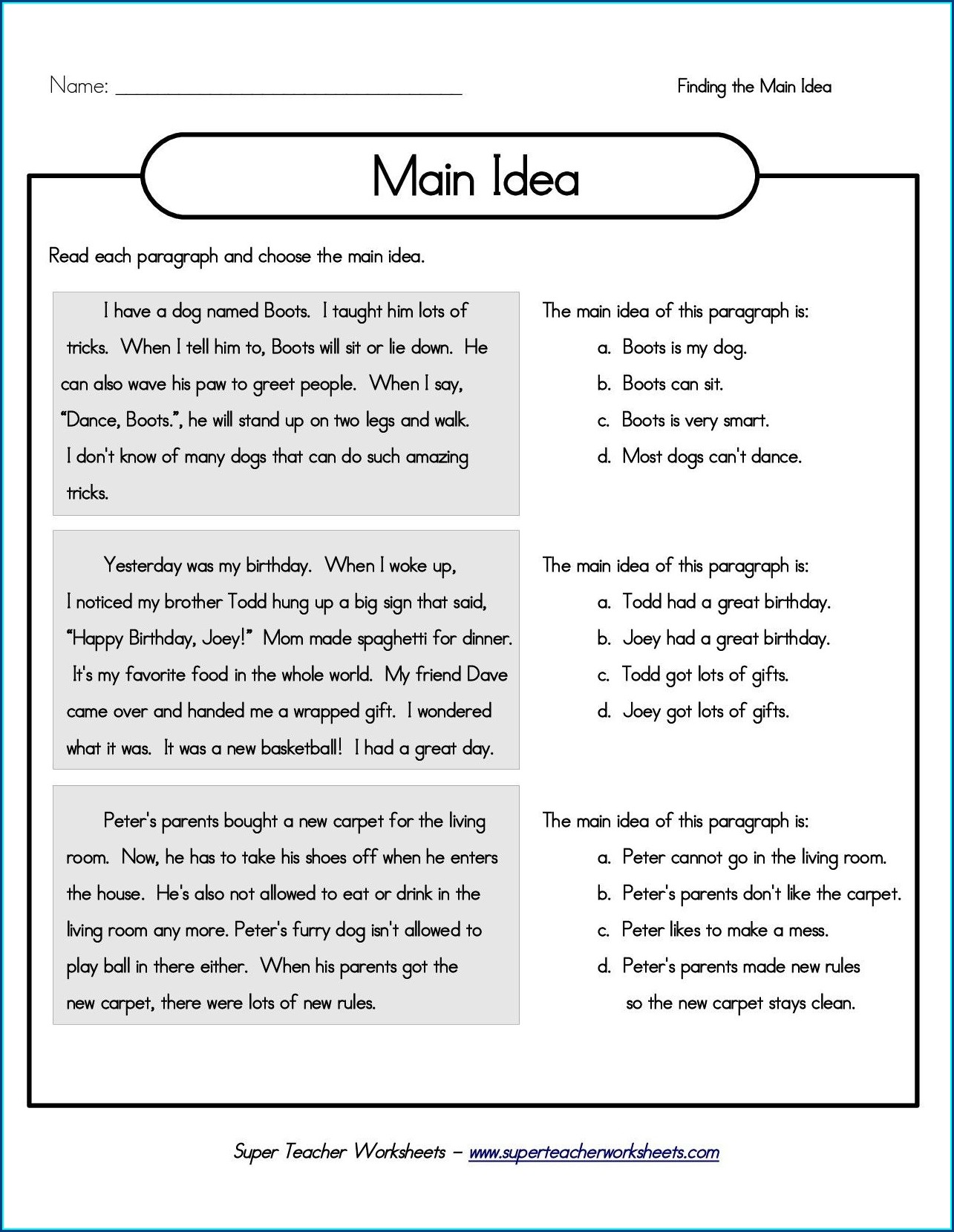 Martin Luther King Jr Main Idea Worksheet