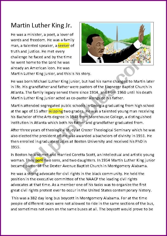 Martin Luther King Jr Reading Comprehension Worksheets Pdf