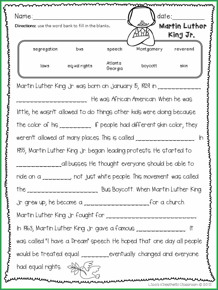 Martin Luther King Jr Student Worksheets