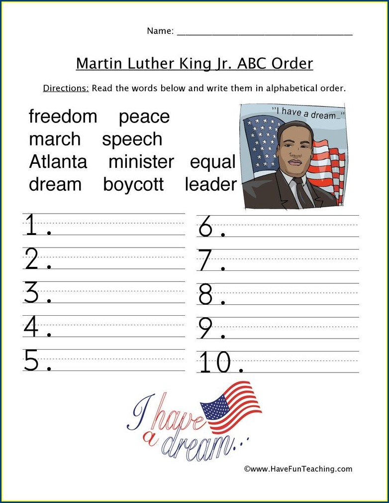 Martin Luther King Jr Video And Worksheet