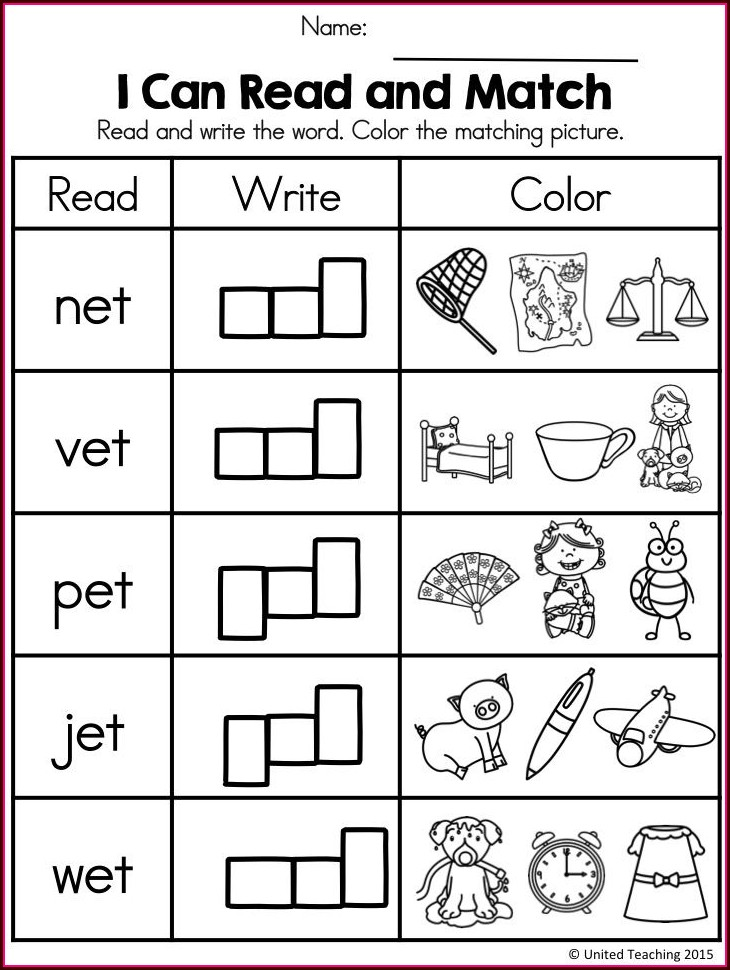 Matching Cvc Words To Pictures Worksheets