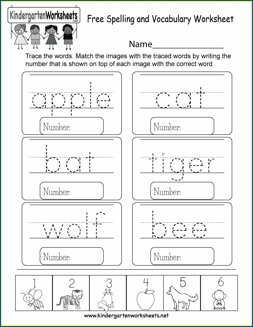 Matching Kindergarten English Worksheets Free Printables