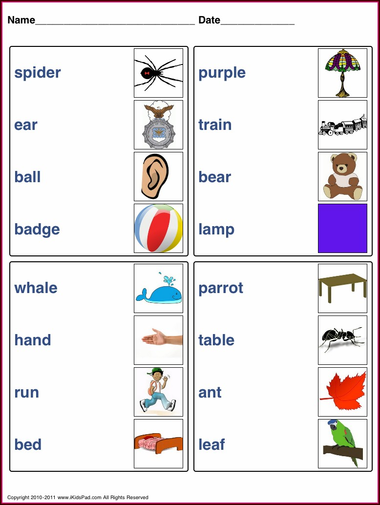 Matching Words To Pictures Worksheets