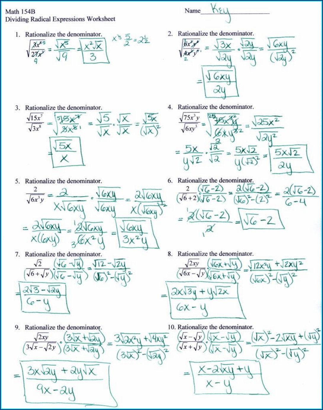 Math 154b Solving Using The Quadratic Formula Worksheet Answers