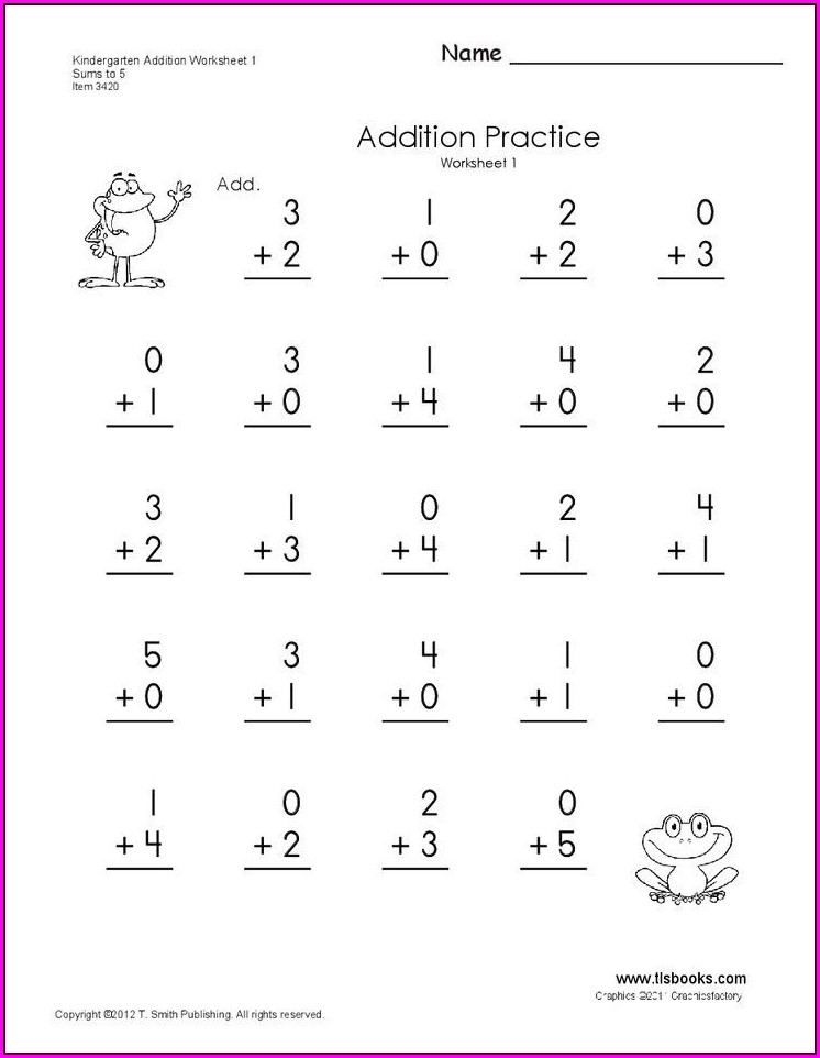 Math Addition Worksheet Kindergarten