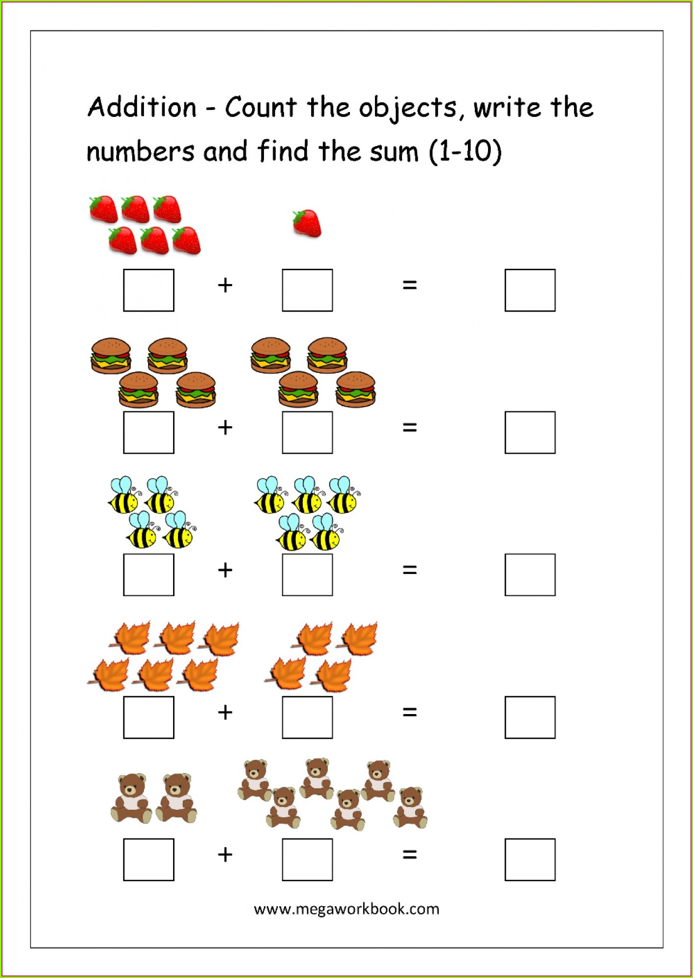 Math Addition Worksheet To 10