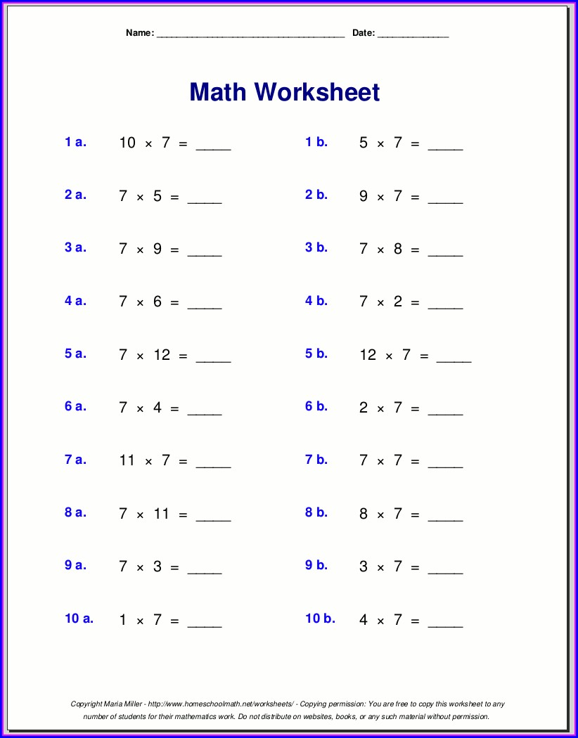 Math Exercises Year 7