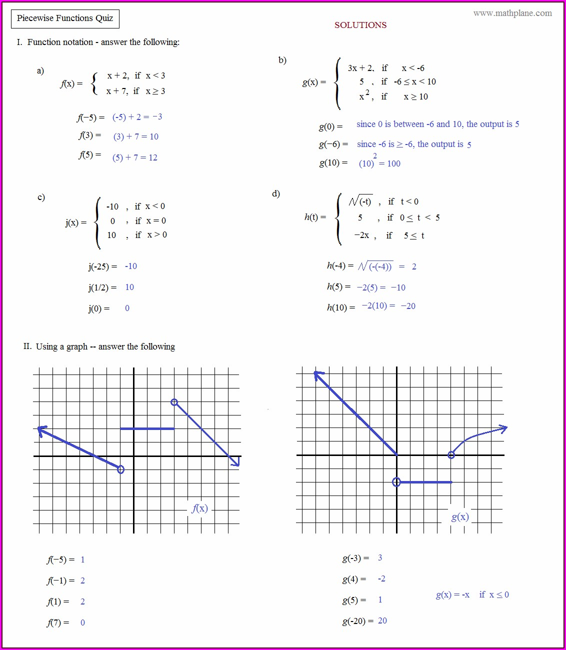 Math Function Worksheet Pdf