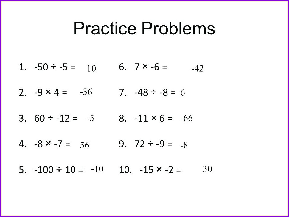 Math Integer Word Problems Worksheet