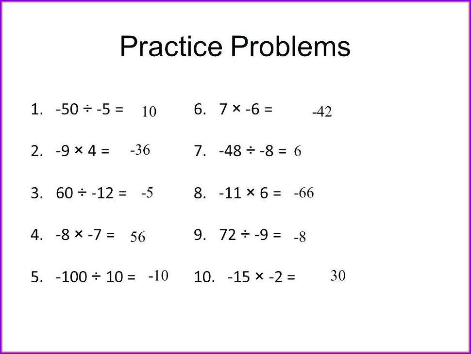Math Integer Word Problems Worksheet