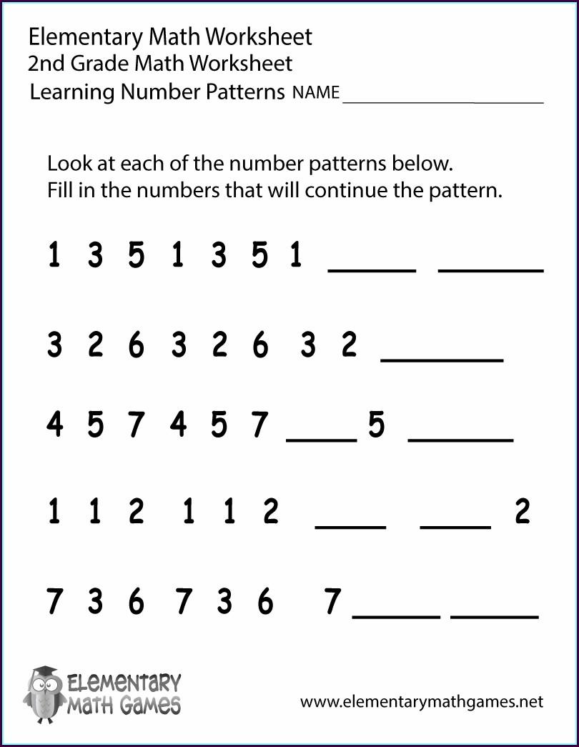 Math Pattern Worksheet For Grade 2