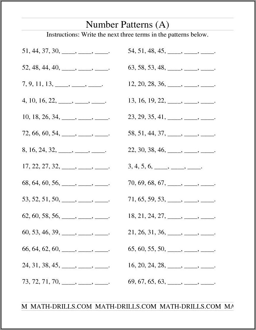 Math Pattern Worksheet Grade 6