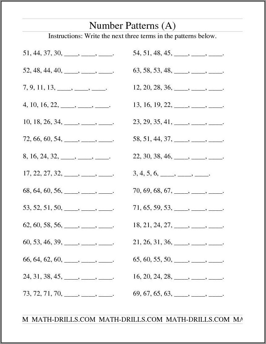 Math Pattern Worksheet Grade 6