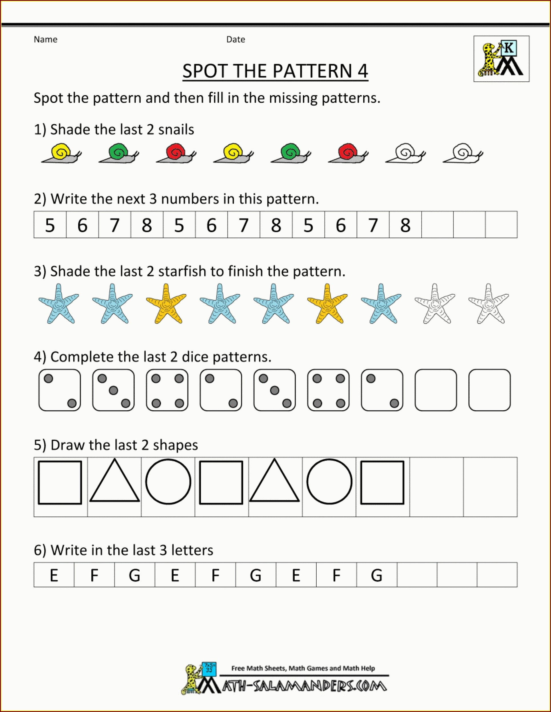 Math Pattern Worksheets For 5th Grade