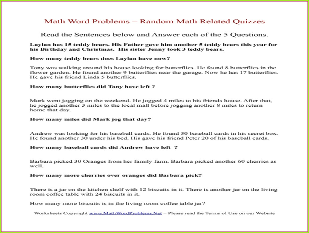 Math Problems Worksheet For 3rd Grade