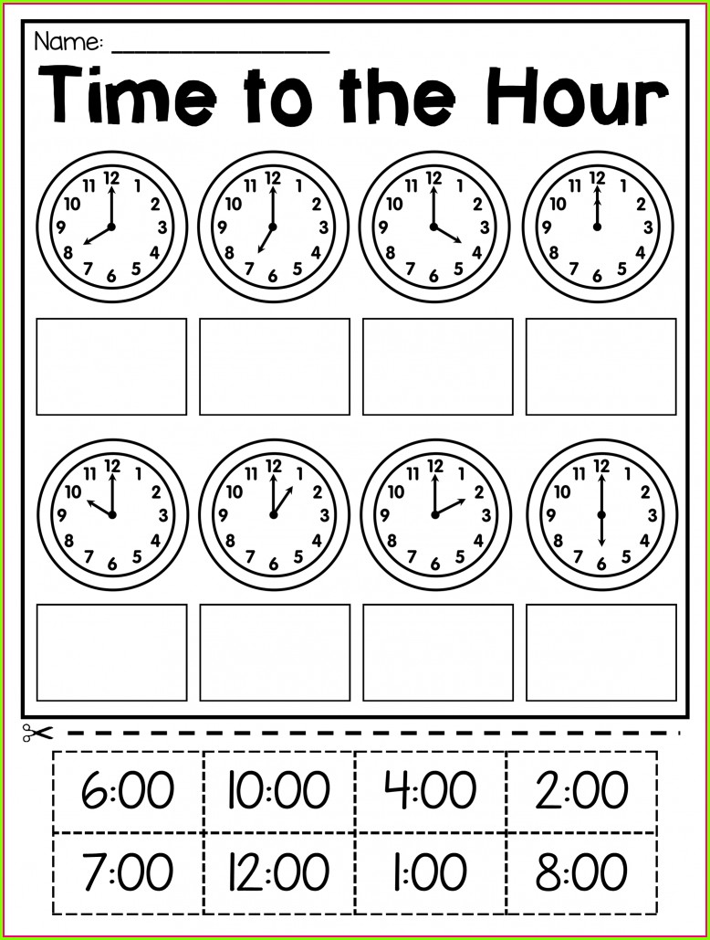 Math Time Worksheets For 1st Grade