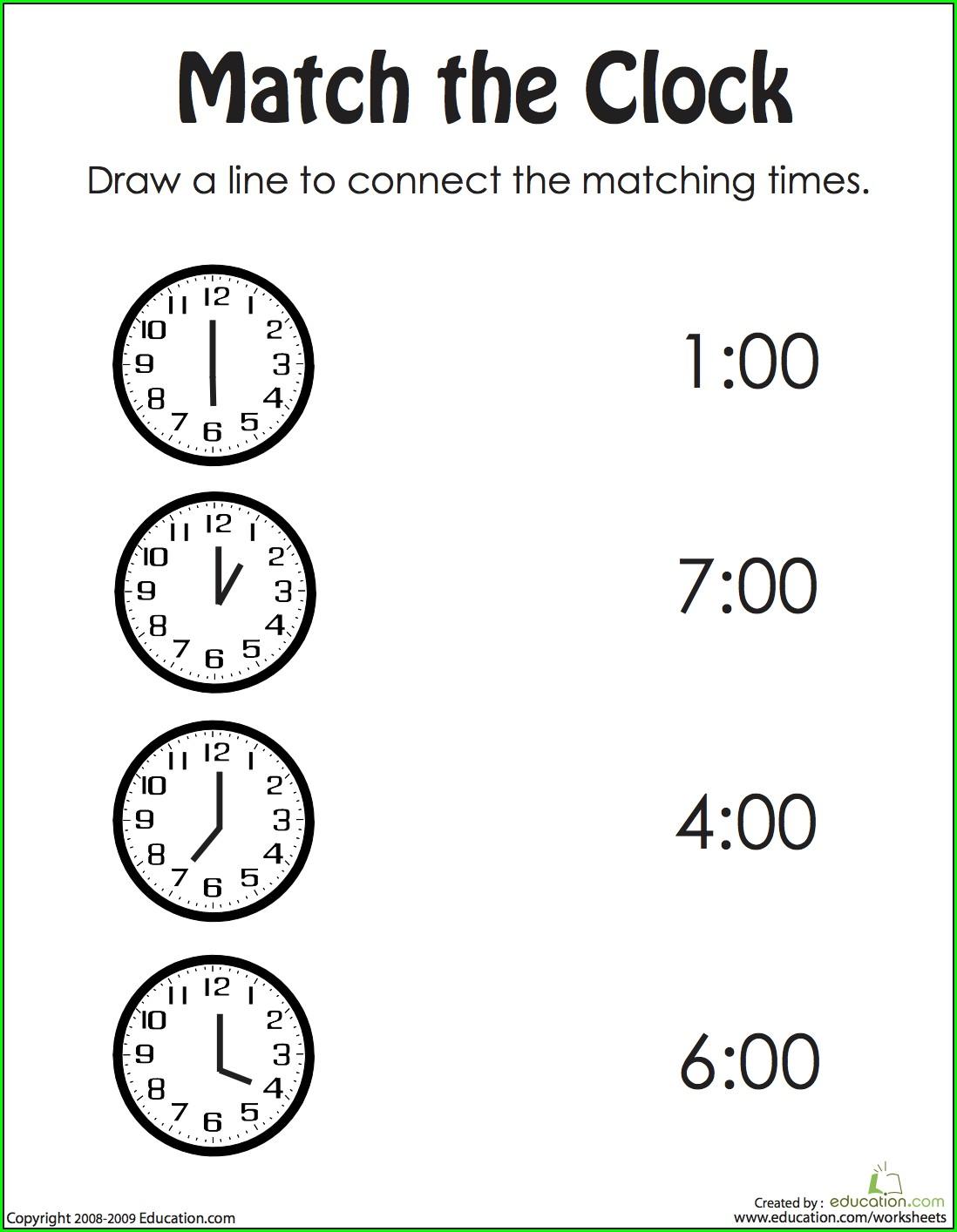Math Time Worksheets Kindergarten