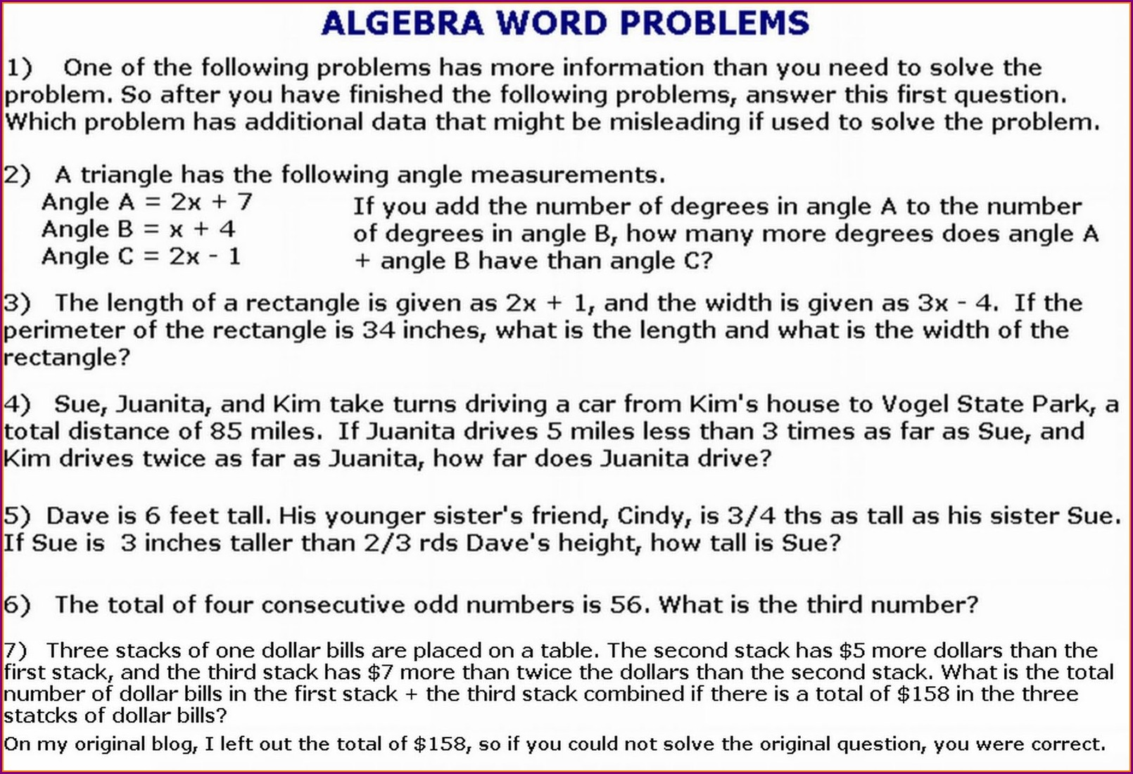 Math Word Problems Worksheets Ged