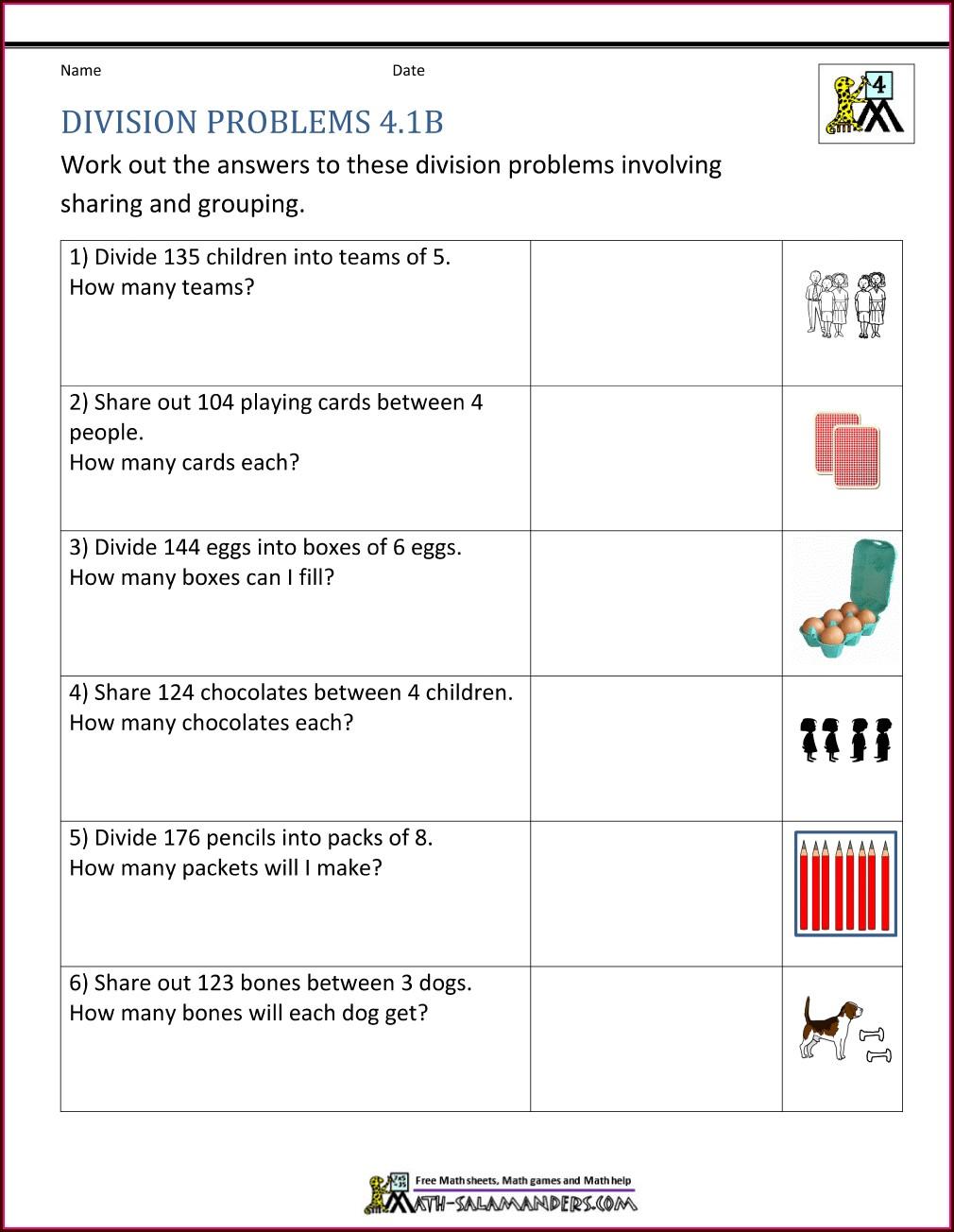 Math Worksheet 4th Grade Word Problems