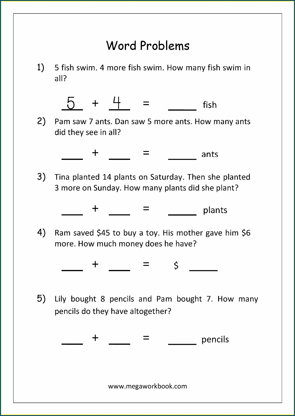 Math Worksheet Addition Word Problems