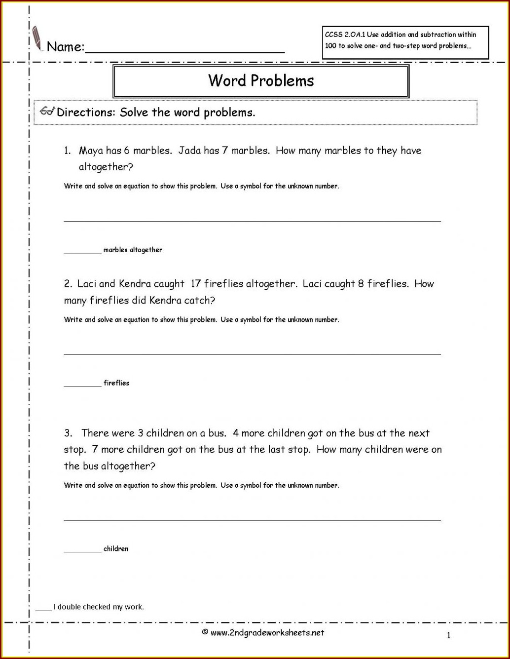 Math Worksheet Division Word Problems