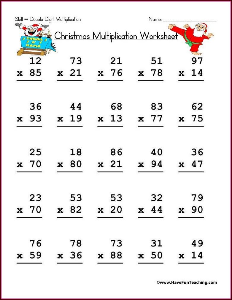 Math Worksheet Double Digit Addition