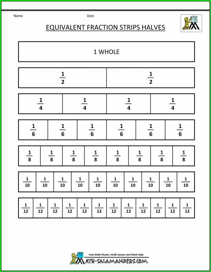Math Worksheet Equivalent Fractions
