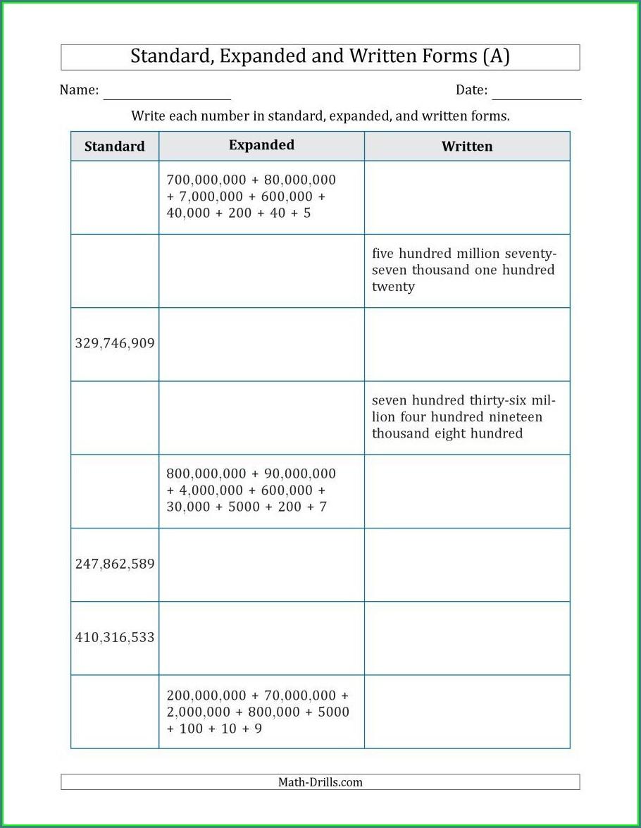Math Worksheet Expanded Form