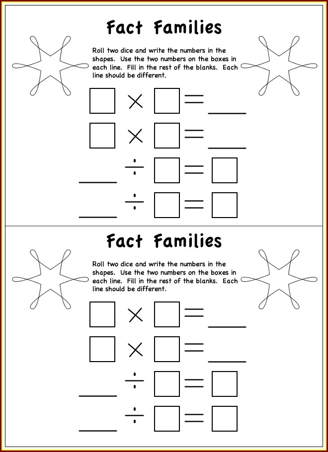 Math Worksheet Fact Families Multiplication And Division
