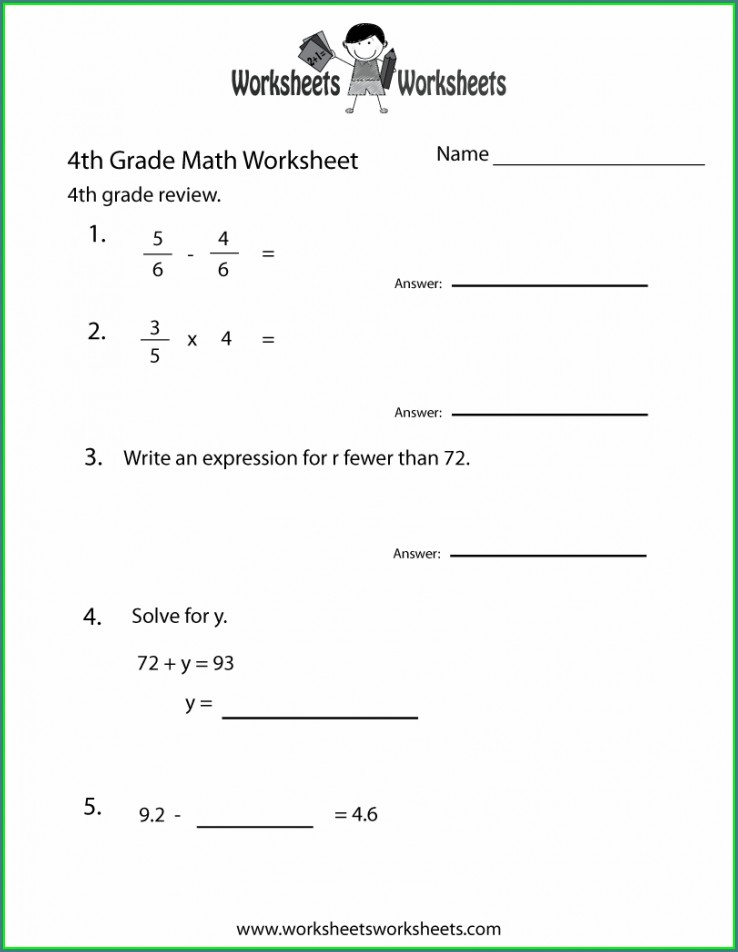 Math Worksheet For 4th Grade Fractions