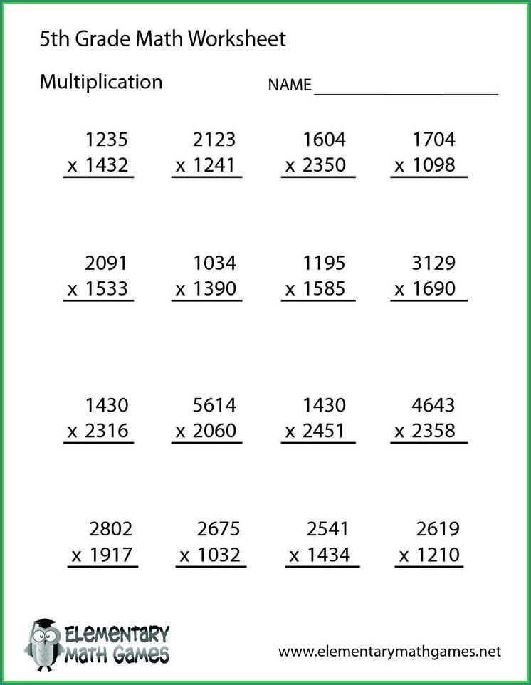 Math Worksheet For 5th Grade