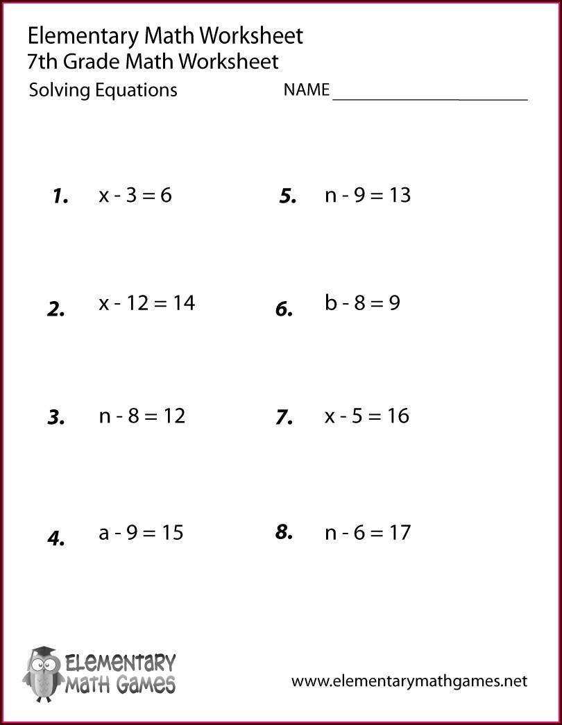Math Worksheet For 8th Graders Algebra