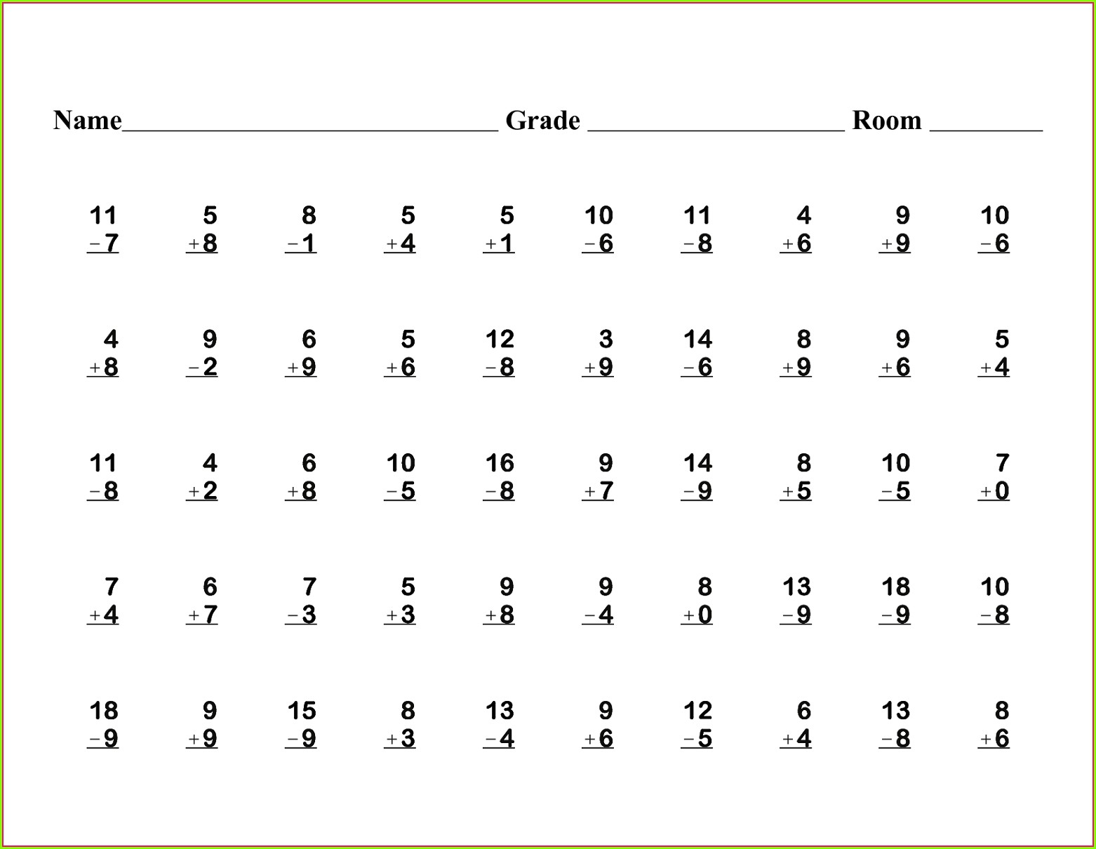 Math Worksheet For Grade 1 Addition