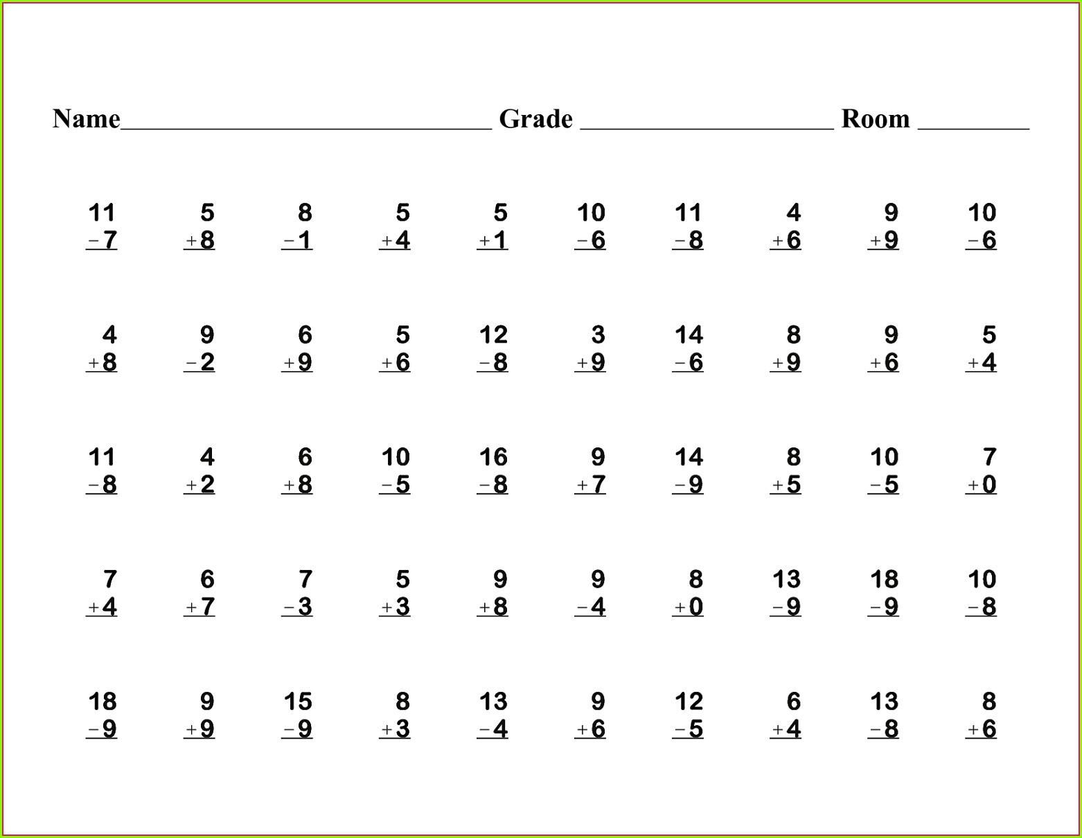 Math Worksheet For Grade 1 Addition