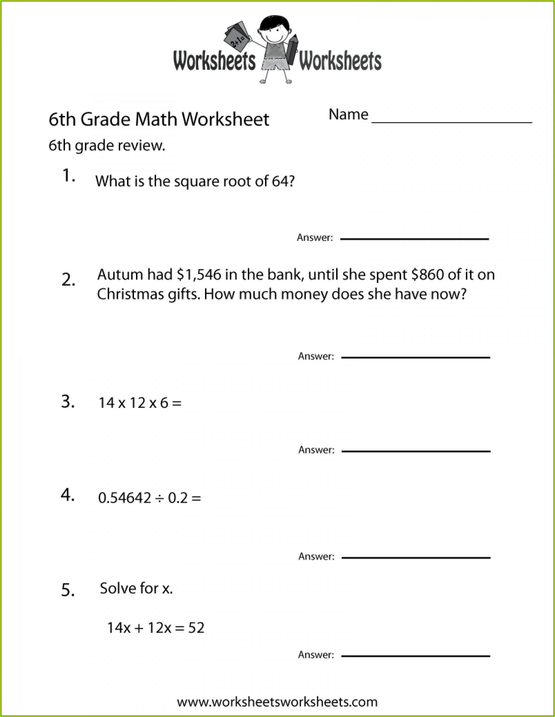 Math Worksheet For Grade 6 Algebra